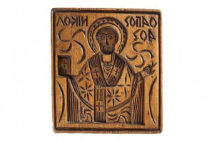 Wooden eulogia stamp of Saint Nicholas