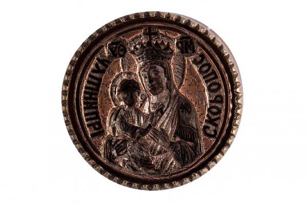 """Copper stamp for eulogia bread of Panagia """"Gorgoepikoos"""""""