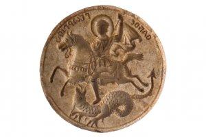 Saint George's stone eulogia stamp