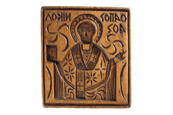 Wooden eulogia stamp of Saint Nicholas